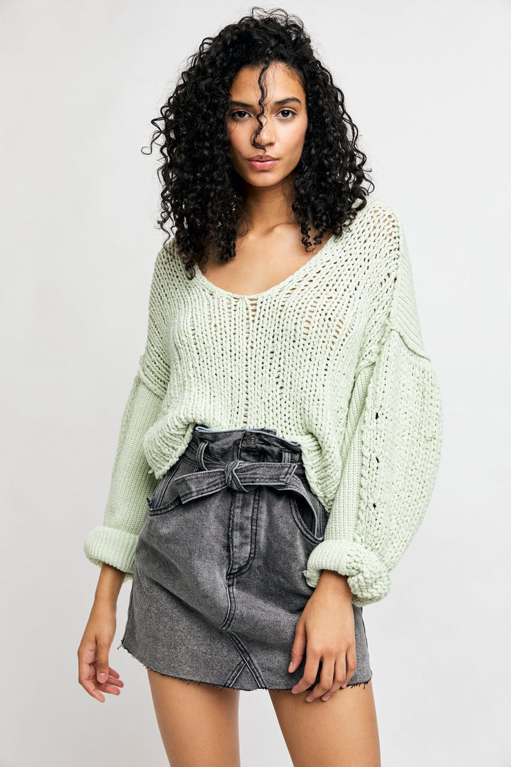 Free People Sea Bright Pullover lime front MILK MONEY