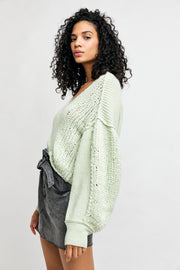 Free People Sea Bright Pullover lime side MILK MONEY