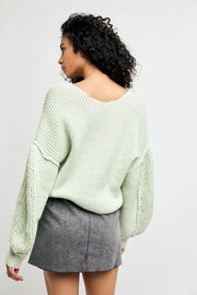 Free People Sea Bright Pullover lime back MILK MONEY
