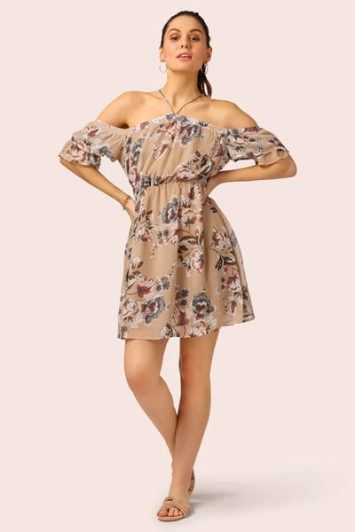 Off The Shoulder Halter Floral Mini Dress Beige MILK MONEY