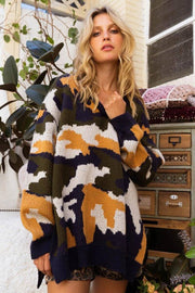 Oversized Camo V-Neck Pullover navy front MILK MONEY