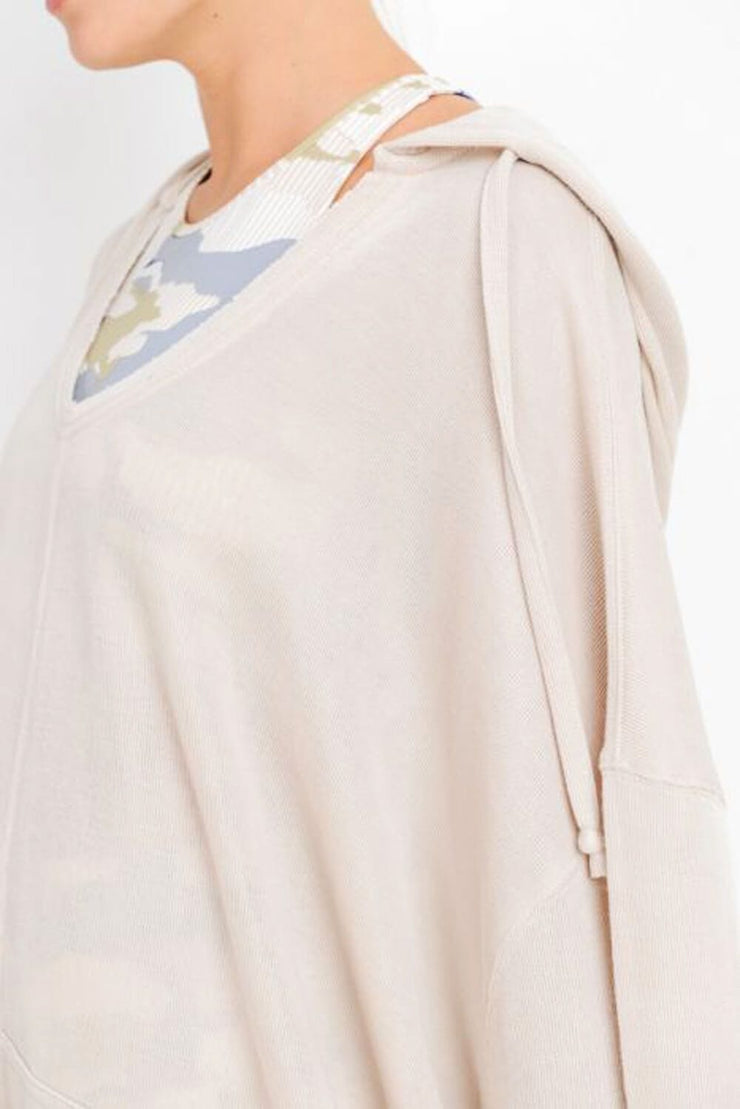 Oversized Midi-Sleeve Hoodie Flow Top cream detail MILK MONEY