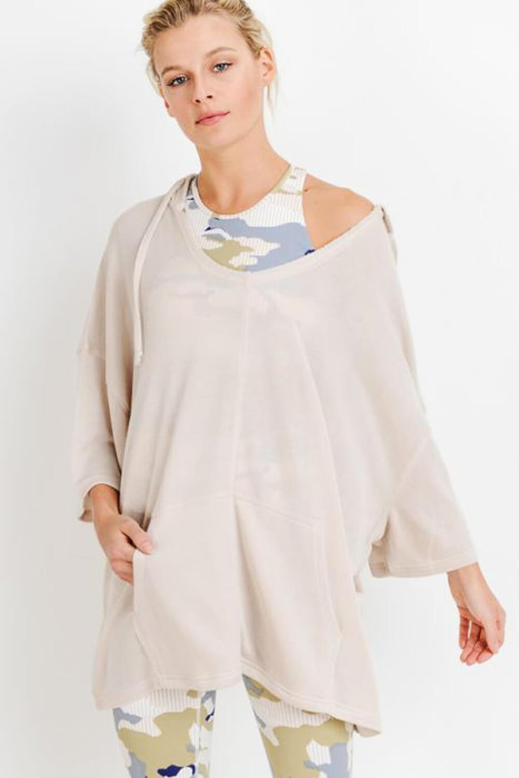 Oversized Midi-Sleeve Hoodie Flow Top cream MILK MONEY