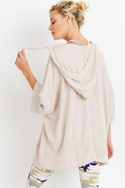 Oversized Midi-Sleeve Hoodie Flow Top cream back MILK MONEY