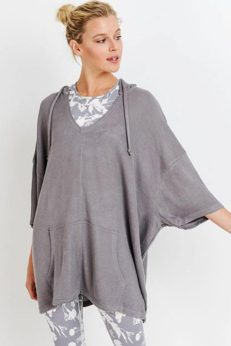 Oversized Midi-Sleeve Hoodie Flow Top mauve MILK MONEY