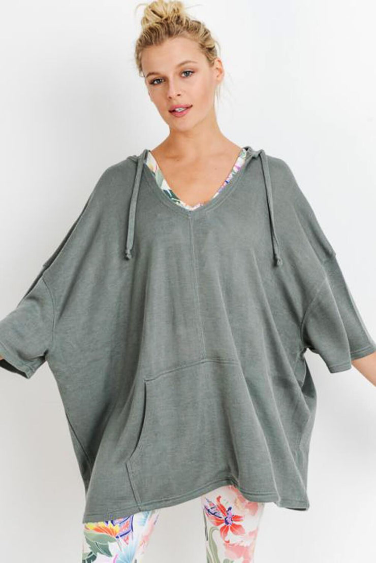 Oversized Midi-Sleeve Hoodie Flow Top spruce MILK MONEY