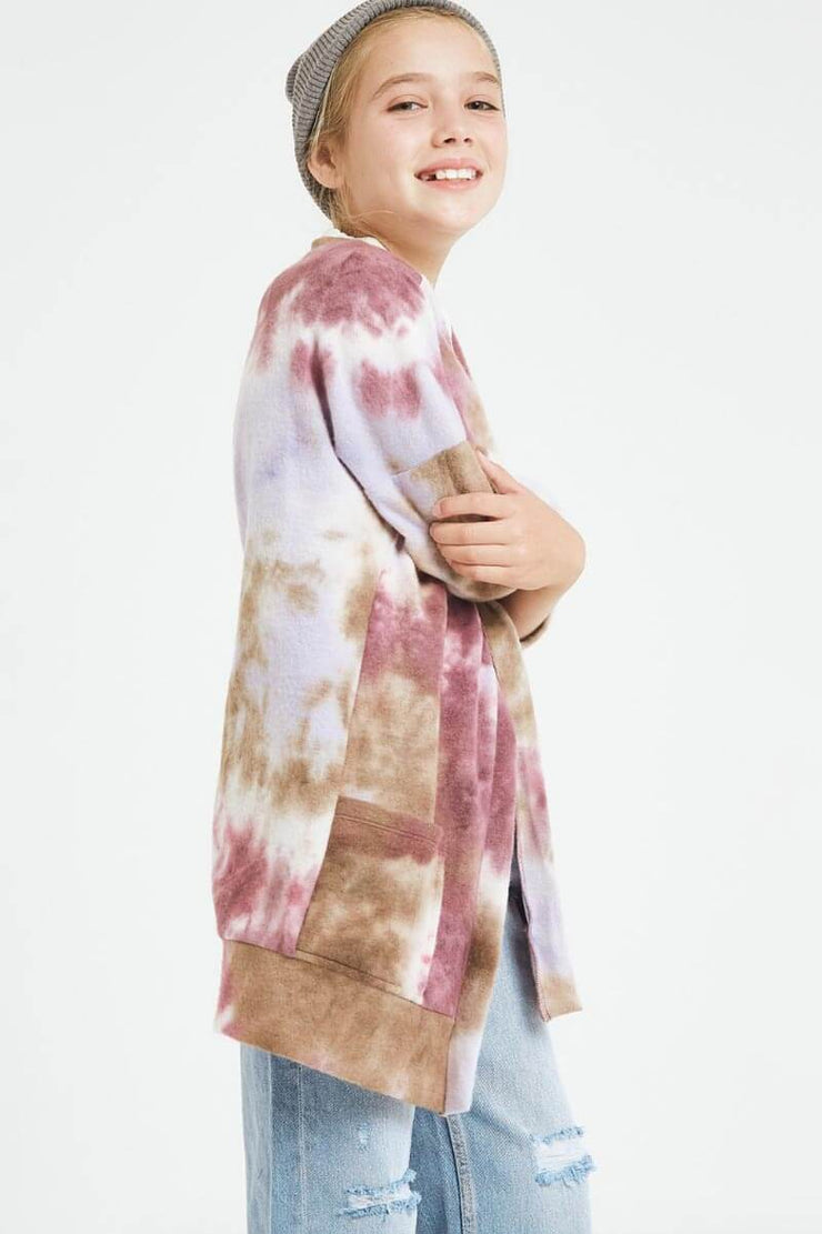 Oversized Tie Dyed Knit Sweatshirt purple side MILK MONEY