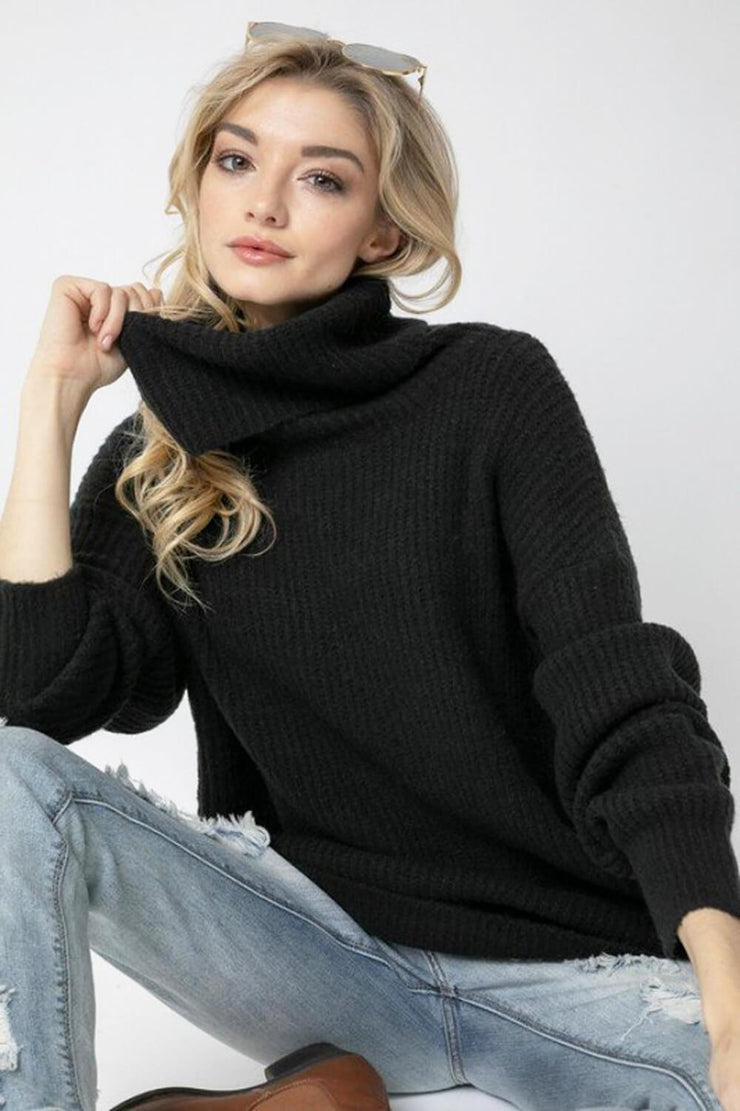Oversized Turtleneck Sweater black MILK MONEY