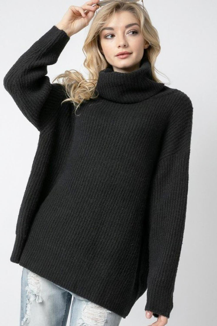 Oversized Turtleneck Sweater black front MILK MONEY