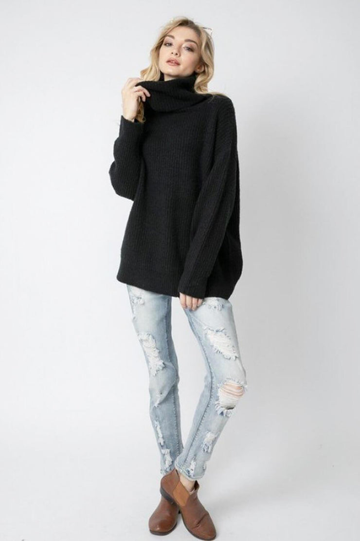 Oversized Turtleneck Sweater black full MILK MONEY