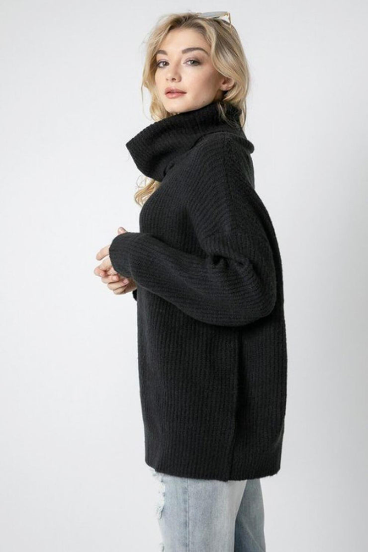 Oversized Turtleneck Sweater black side MILK MONEY