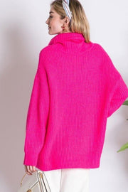 Oversized Turtleneck Sweater fuchsia back MILK MONEY