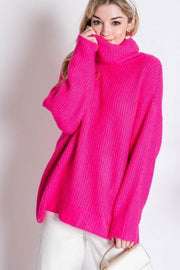 Oversized Turtleneck Sweater fuchsia front MILK MONEY