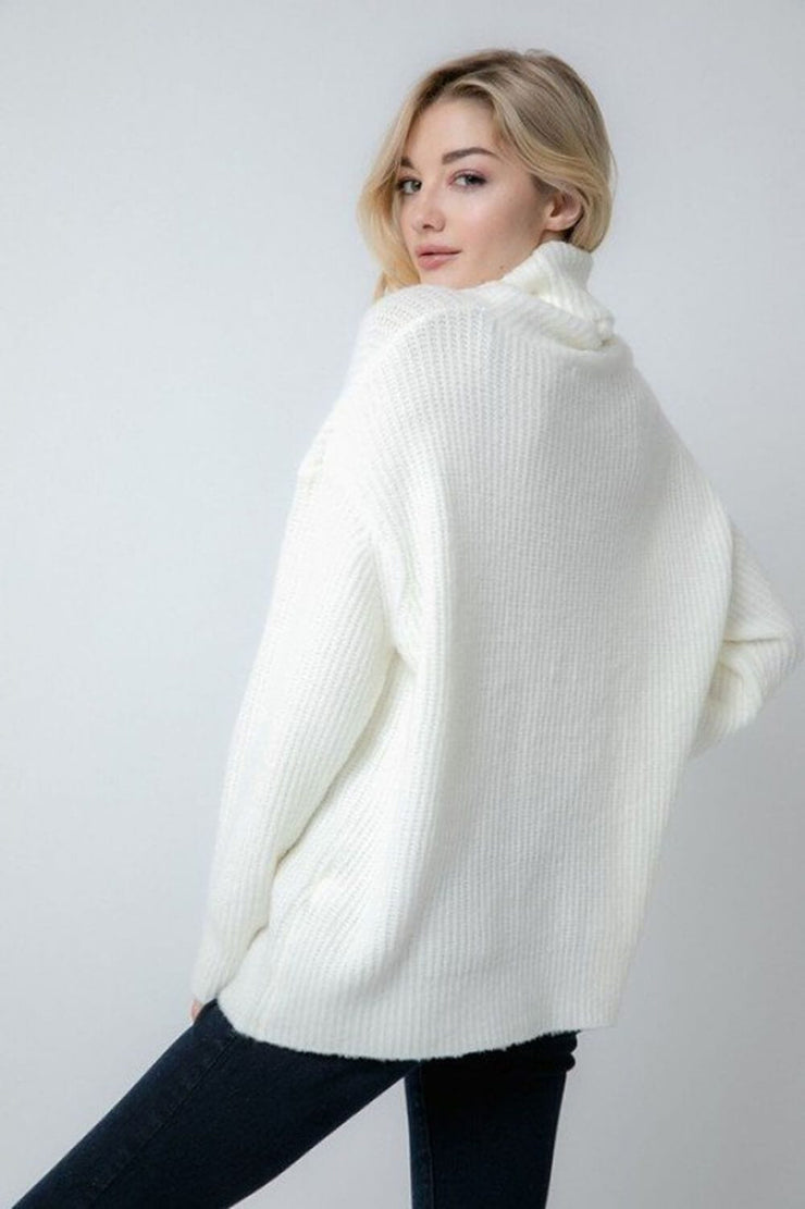 Oversized Turtleneck Sweater ivory back MILK MONEY