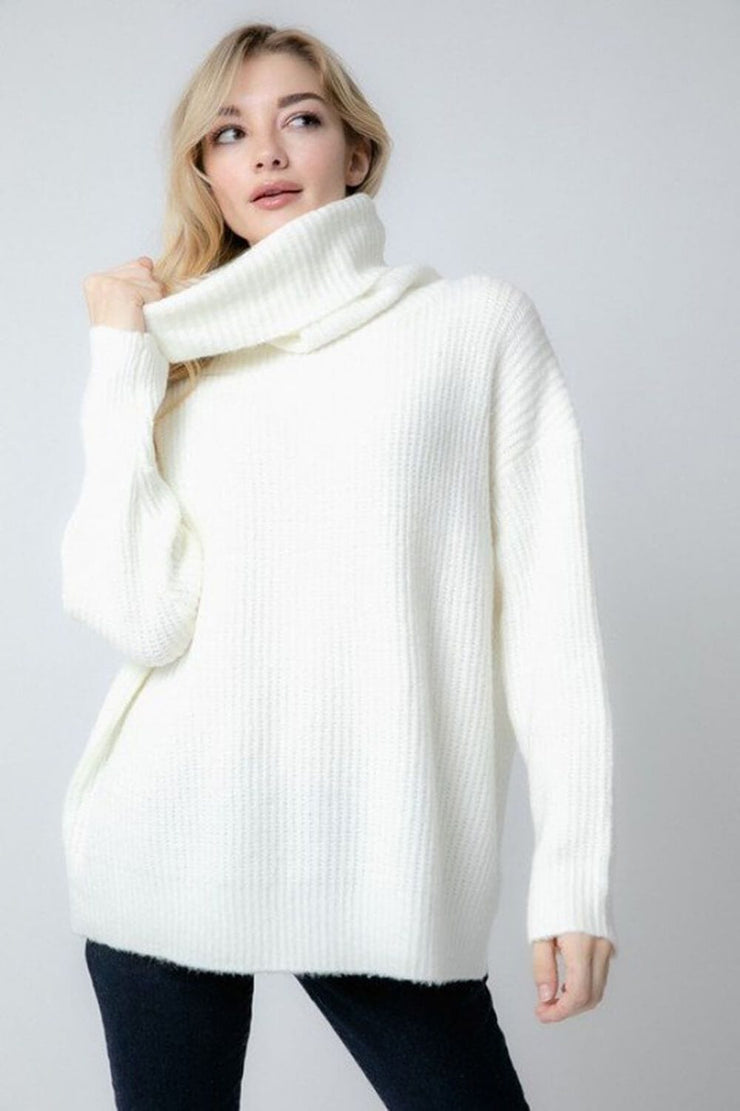 Oversized Turtleneck Sweater ivory front MILK MONEY