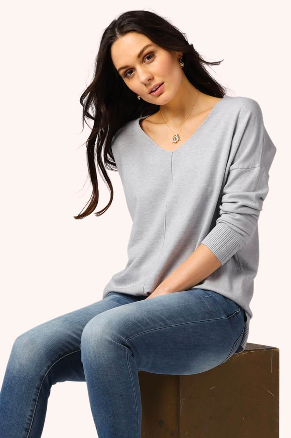 Oversized V-Neck Spring Sweater Grey MILK MONEY