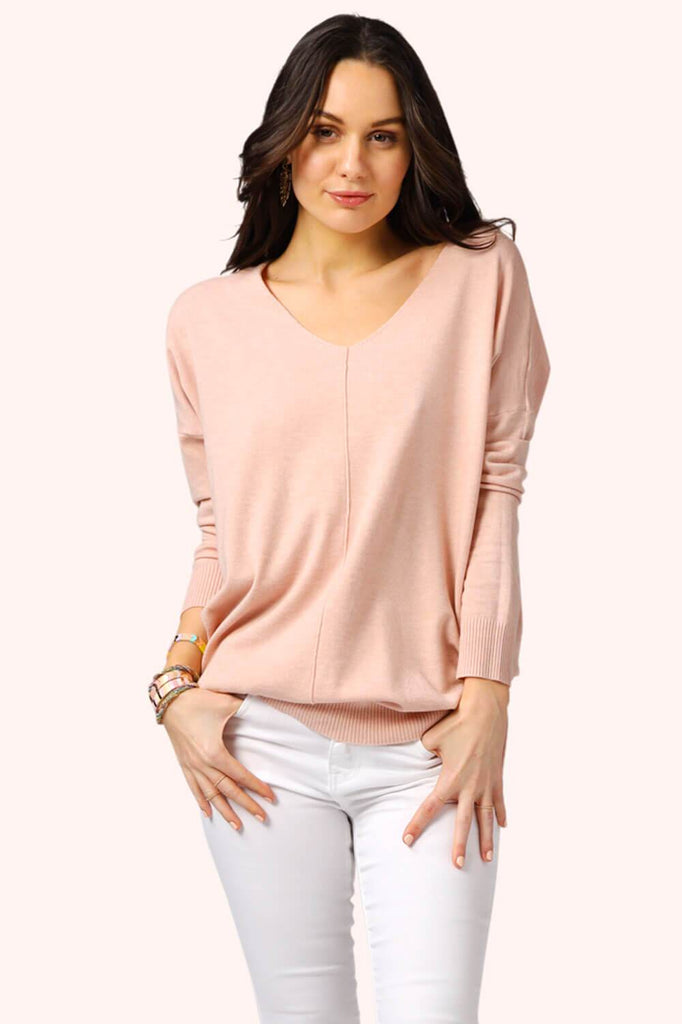 Oversized V-Neck Spring Sweater Rose MILK MONEY