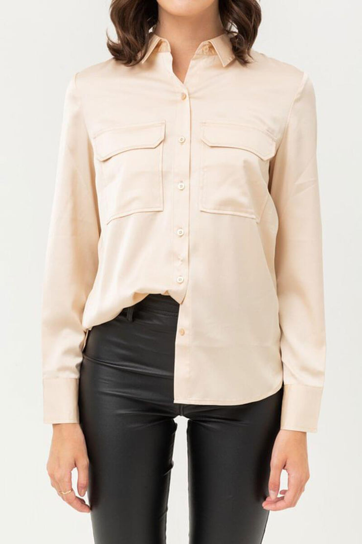 Oxford Silky Blouse Top champ detail MILK MONEY