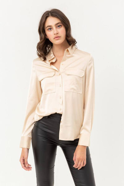 Oxford Silky Blouse Top front champ MILK MONEY