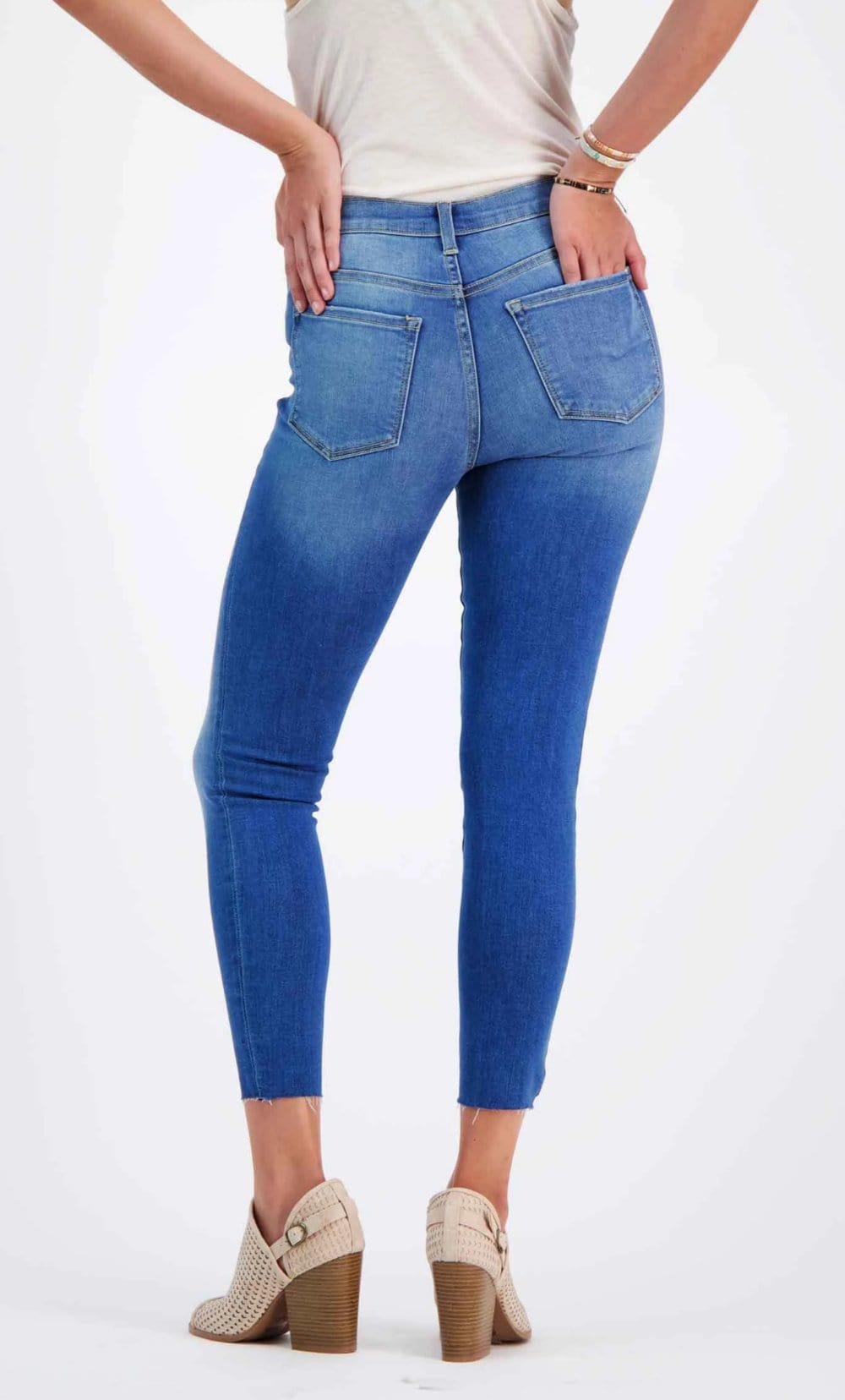 Mid-Rise Ankle Cut Jeans Blue back - MILK MONEY