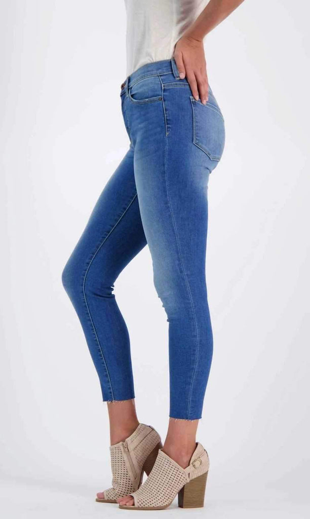 Mid-Rise Ankle Cut Jeans Blue side - MILK MONEY
