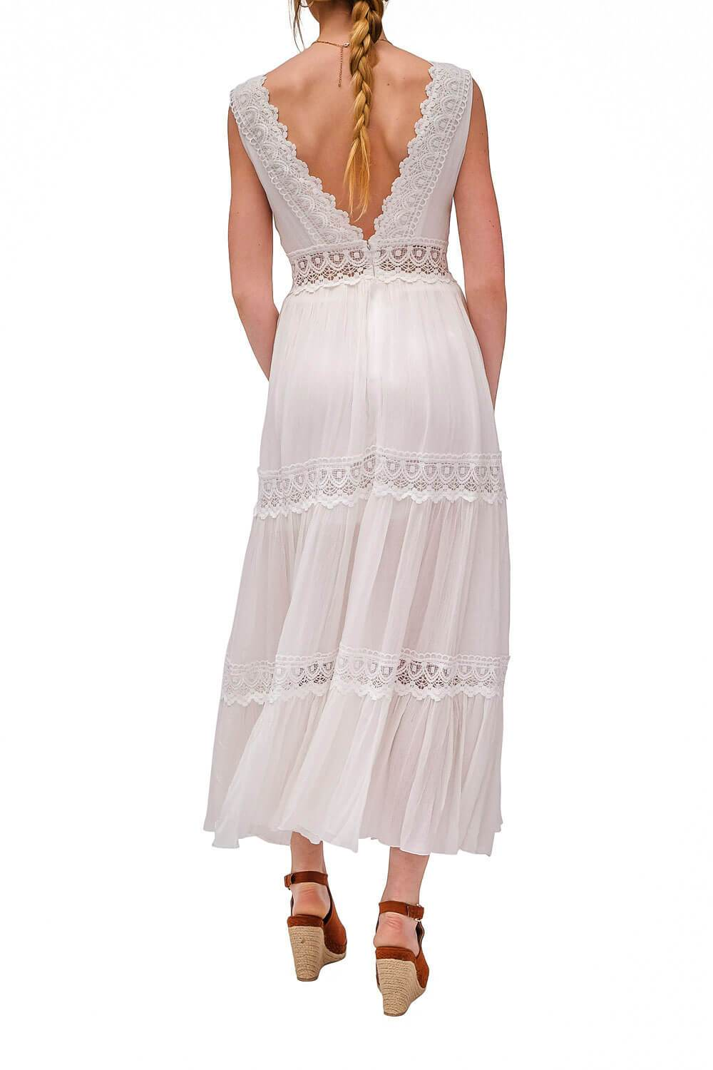 Palm Springs Lace Dress White back - MILK MONEY