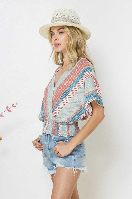 Patchwork Dolman Wrap Crop Top blue side | MILK MONEY milkmoney.co | cute tops for women. trendy tops for women. cute blouses for women. stylish tops for women. pretty womens tops.