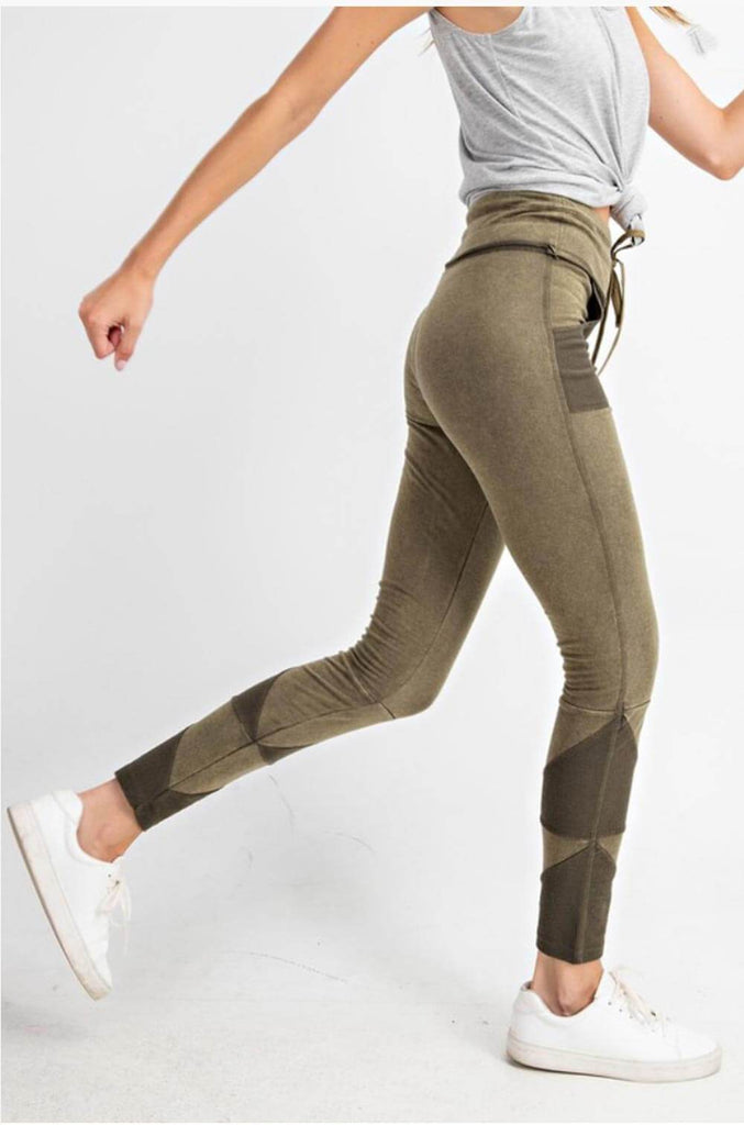 Patchwork French Terry Joggers olive side MILK MONEY