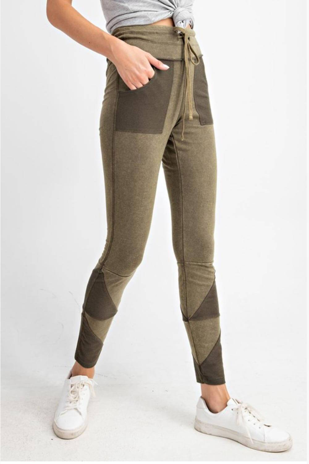 Patchwork French Terry Joggers olive side2 MILK MONEY