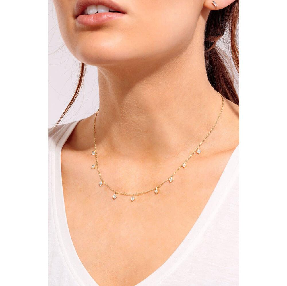 Pavé Diamond Layering Necklace Gold Model - MILK MONEY