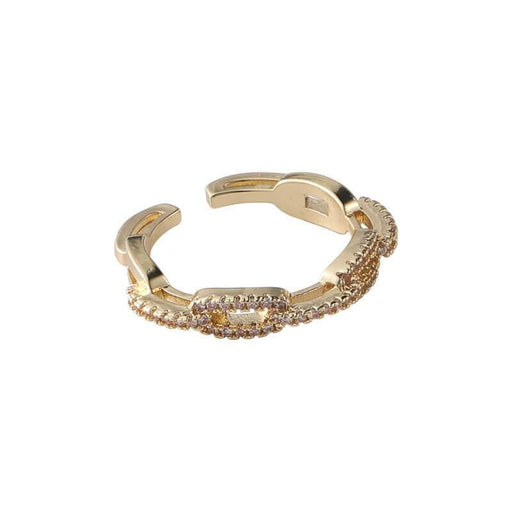 Women's Pavé Encrusted Chain Link Layering Ring gold | MILK MONEY | milkmoney.co