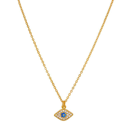Pavé Evil Eye Charm Necklace gold MILK MONEY