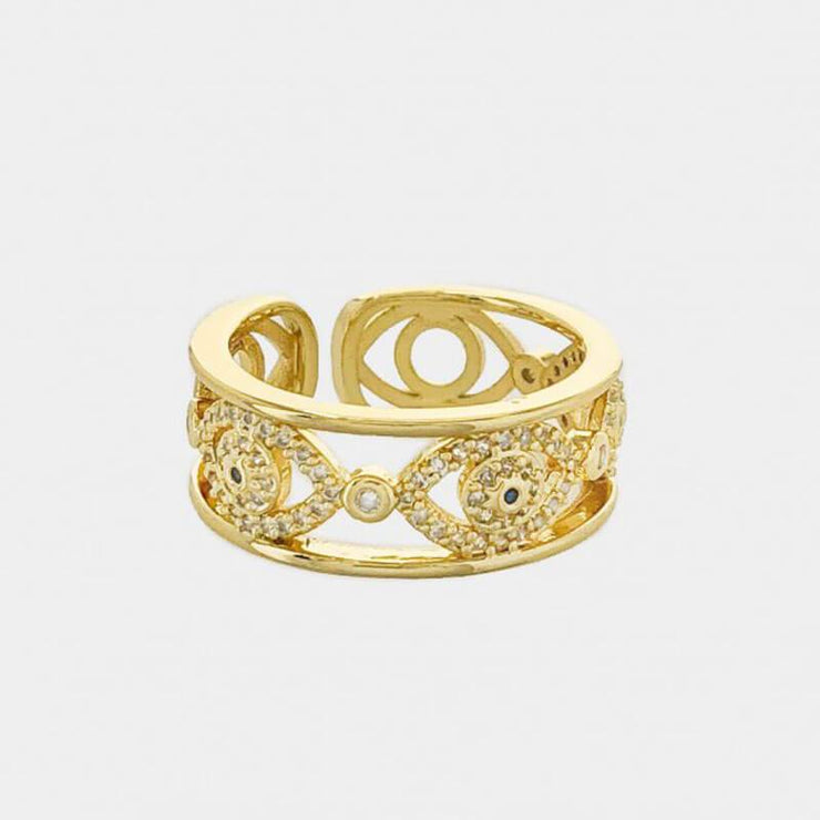 Pave Evil Eye Ring gold MILK MONEY