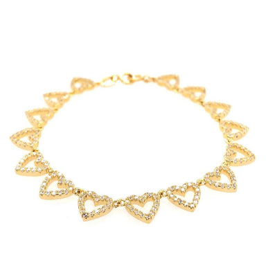 Pavé Heart Tennis Bracelet Gold - MILK MONEY