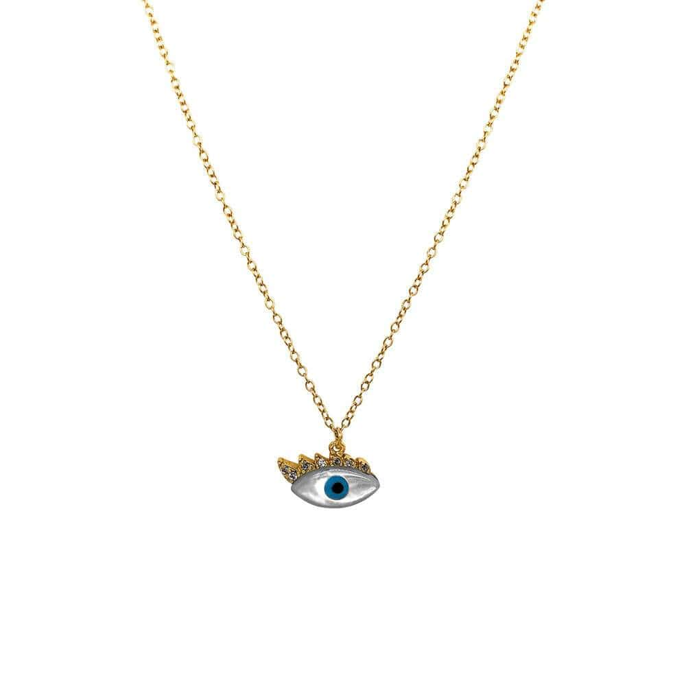 Pearl Evil Eye Necklace Gold - MILK MONEY