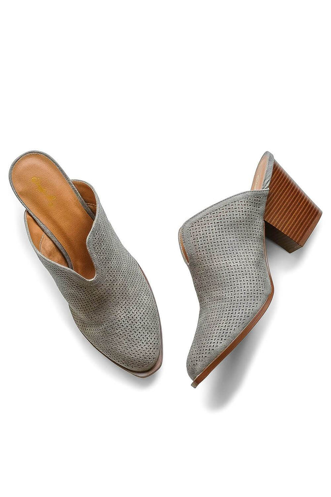 Perforated Grey Mules - MILK MONEY