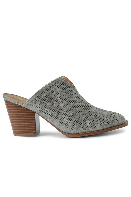 Perforated Grey Mules side -MILK MONEY