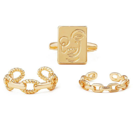 Picasso Milano Layering Ring Set gold front | MILK MONEY | milkmoney.co