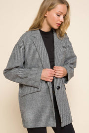 Plaid Boyfriend Jacket black front MILK MONEY