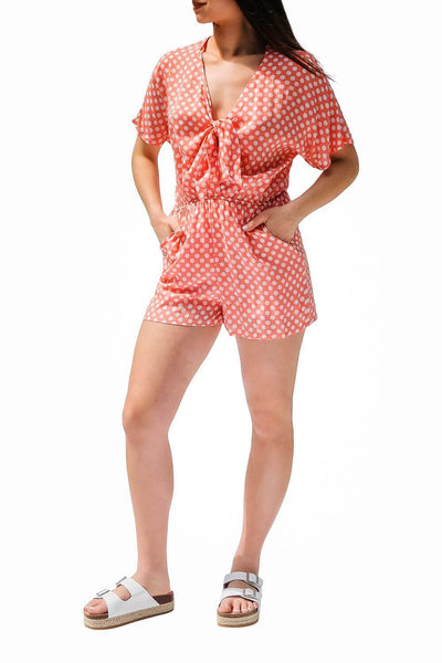 Polka Dot Romper coral - MILK MONEY