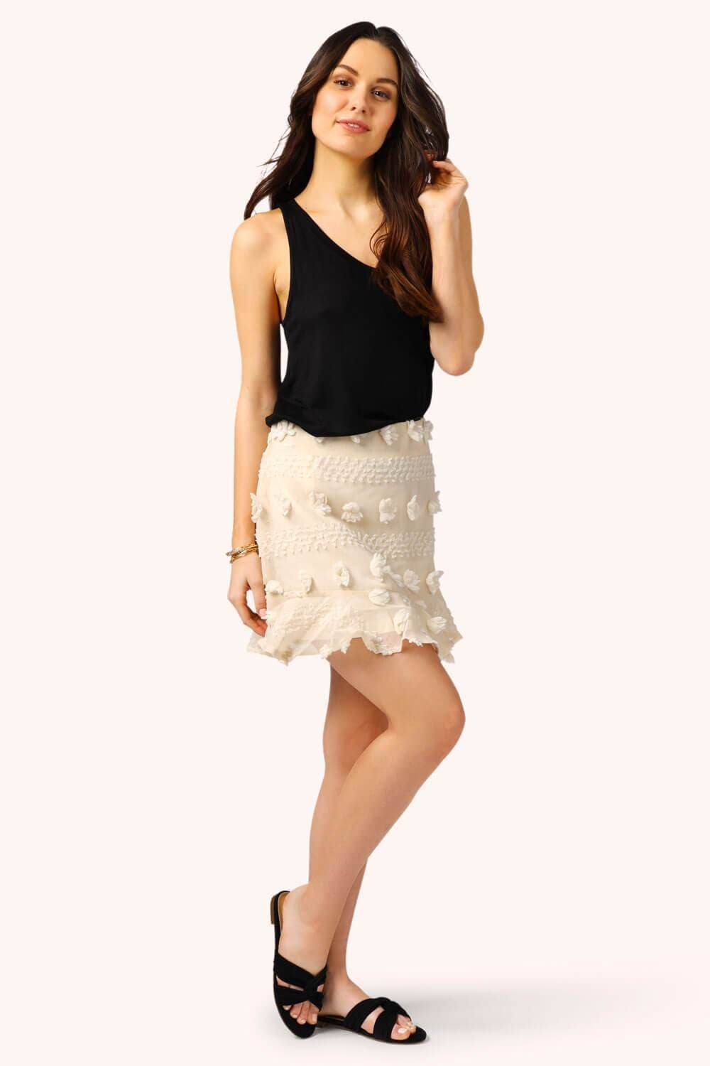 Pom Pom Mini Skirt Cream MILK MONEY full body