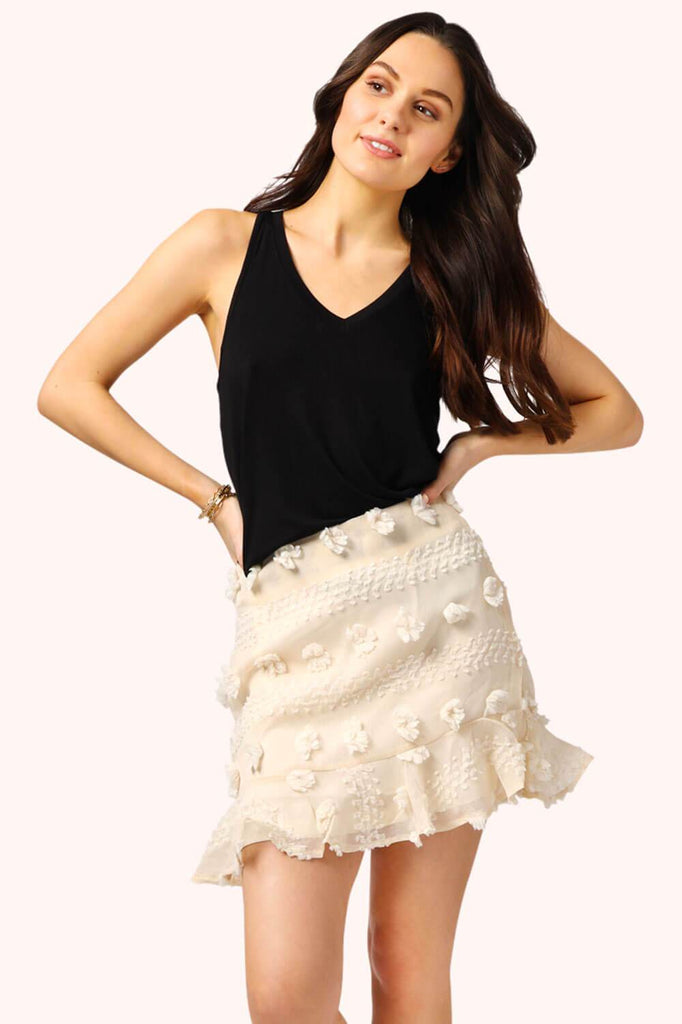 Pom Pom Mini Skirt Cream MILK MONEY