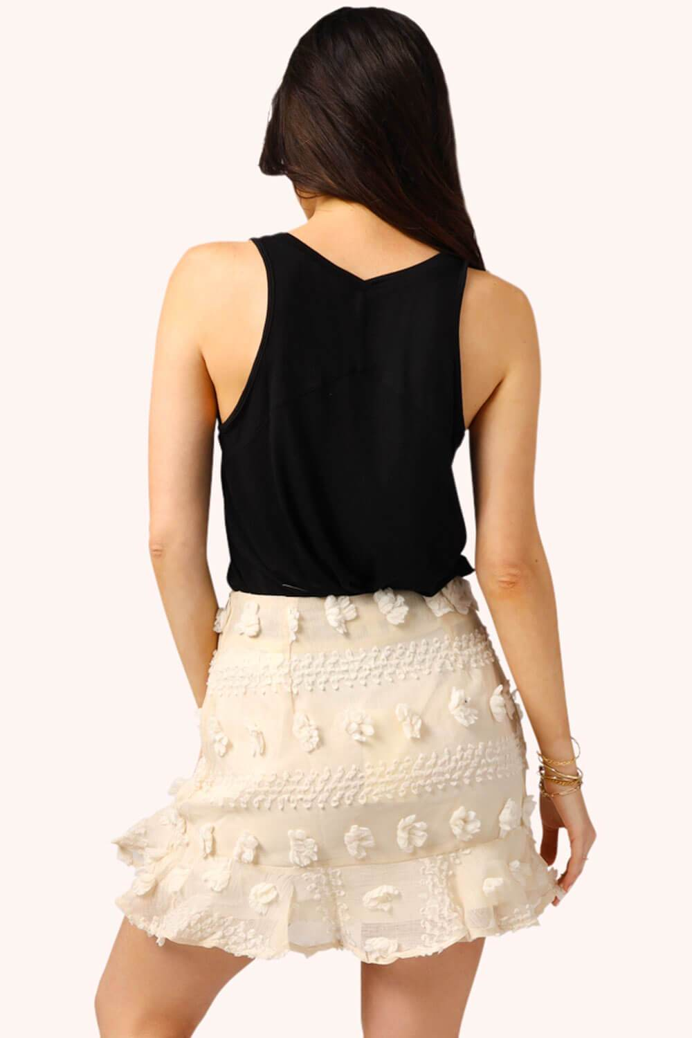 Pom Pom Mini Skirt Cream MILK MONEY back