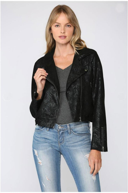 Python Suede Moto Jacket black front MILK MONEY