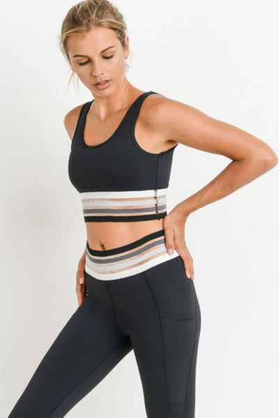 Quatro Band Soft Mesh Sports Bra black MILK MONEY