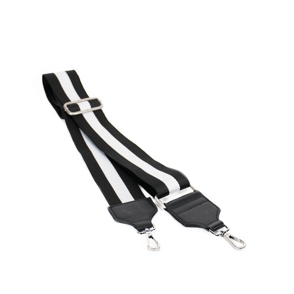 Crossbody Striped Bag Strap White Black - MILK MONEY