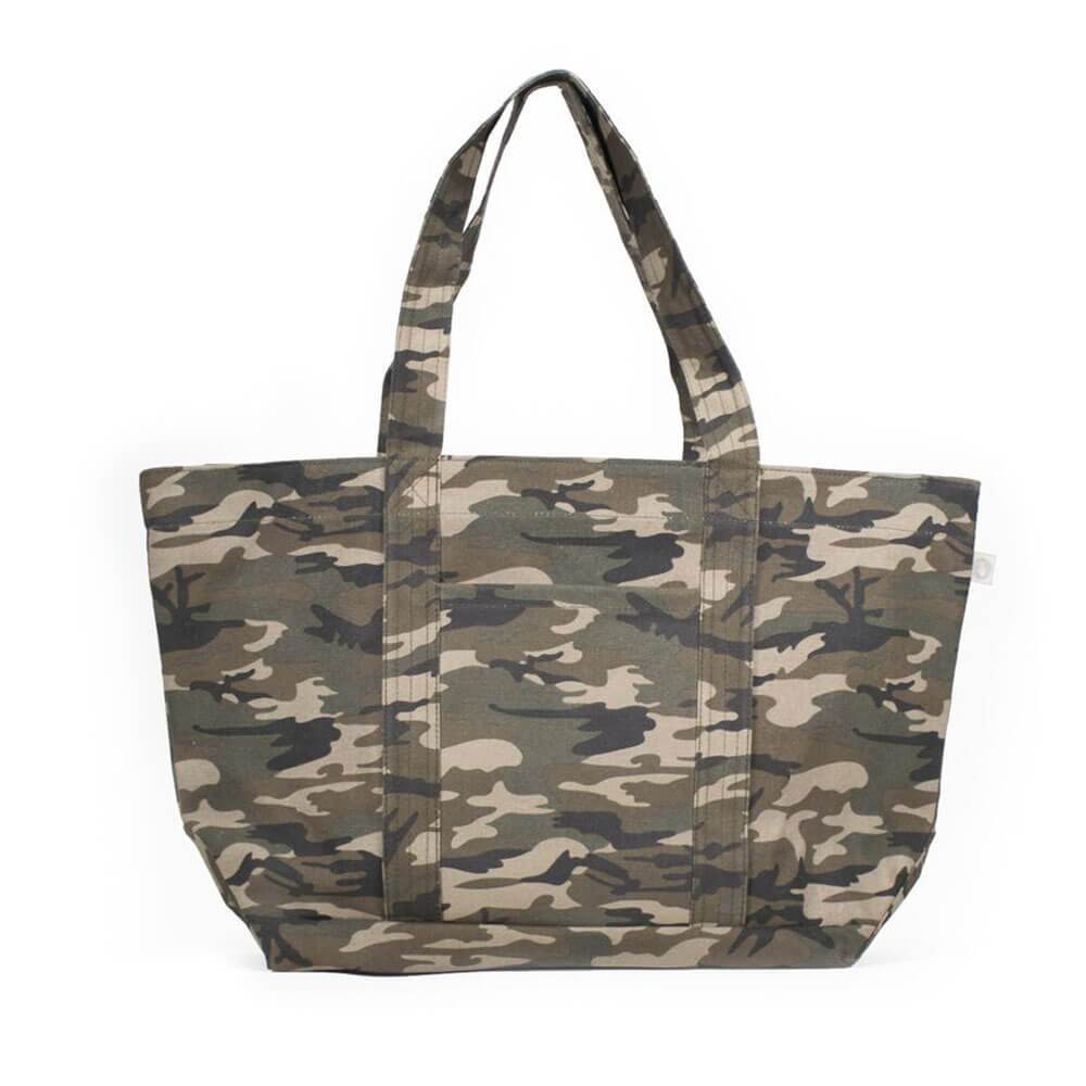 Large Camo Zipper Tote Customizable Bag Green - MILK MONEY