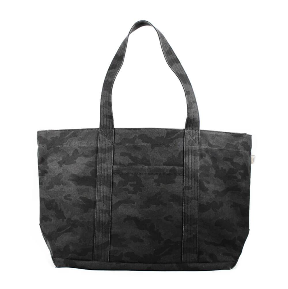 Large Camo Zipper Tote Customizable Bag Black - MILK MONEY