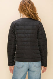 Quilted Layering Puffer Jacket back black MILK MONEY