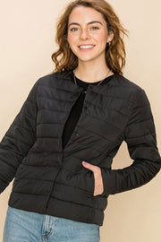 Quilted Layering Puffer Jacket black front MILK MONEY